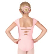 Girls Bow Back Short Sleeve Leotard