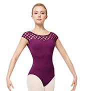 Adult Geometric Mesh Short Sleeve Leotard