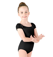 Girls Glitter Mesh Cap Sleeve Leotard