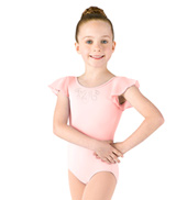 Girls Flutter Sleeve Diamante Swirl Leotard
