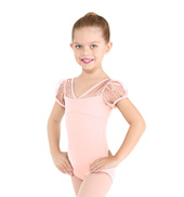 Girls Sequin Puff Sleeve Leotard