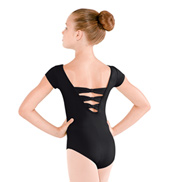 Girls Bow Back Cap Sleeve Leotard