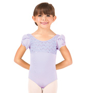 Girls Crinkle Sequin Mesh Flutter Sleeve Leotard
