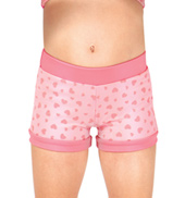 Girls Heart Print Dance Shorts