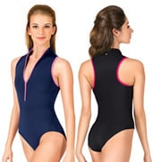 Adult Misha High Neck Zip Front Tank Leotard