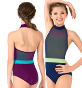 Girls Danila Mesh Overlay High Neck Halter Leotard