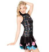 Multi Sequin Halter Dress with Brief