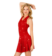 Foil Dot Halter Dress with Attached Short