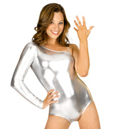One Shoulder Metallic Leotard