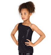 Child Asymmetrical Sequin Dot Tank Top