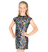 Child Open Back Cap Sleeve Sequin Dress