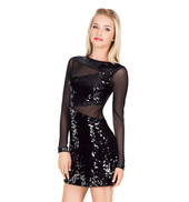 Adult Sequin and Mesh Long Sleeve Dress