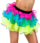 Girls 3 Layer Neon Tutu with Fish Hem