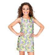 Girls Neon Sequin Black Light Dress