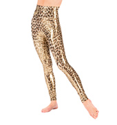 Adult Gold High Waist Leopard Leggings