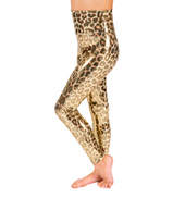 Girls Gold Leopard High Waist Legging