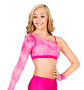 Adult One Sleeve Glitter Lace Crop Top