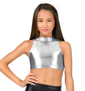 Girls Metallic Mock Neck Tank Crop Top