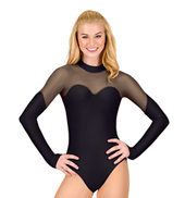 Adult Long Sleeve Mesh Cosplay Leotard in Black