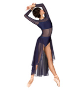 Adult Long Sleeve High-Low Dance Performance Dress