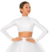 Child Satin Long Sleeve Crop Top