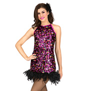 Adult Sequin & Feather Shift Dress Set
