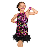 Girls Sequin & Feather Shift Dress Set
