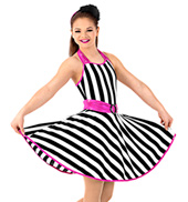 Girls Striped Halter Dress Set