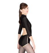 Zipper Front Shorty Long Sleeve Unitard