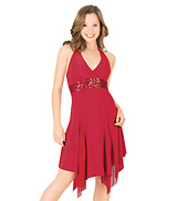 Halter Dress with Sequin Inserts
