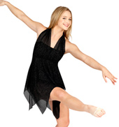Adult Black Sparkle Dress with Attached Shorty Unitard