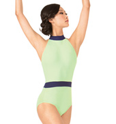 Adult Two-Tone High Neck Halter Leotard