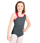 Child One Shoulder Ruffle Tank Leotard