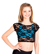 Child Short Sleeve Lace Crop Top