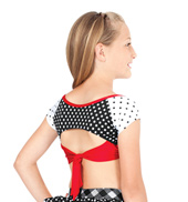 Child Short Sleeve Mixed Print Crop Top with Tie Back