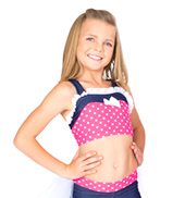 Child Polka Dot &amp; Sparkle Denim Tank Bra Top