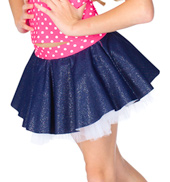 Child Sparkle Denim &amp; Tulle Skirt with Attached Short