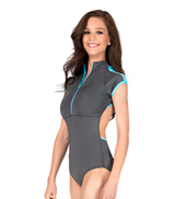 Mock Short Sleeve Zip Leotard
