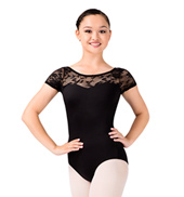 Short Sleeve Lace Leotard