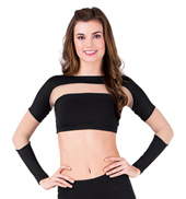 Adult Mesh Insert Long Sleeve Crop Top
