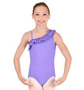 Girls One Shoulder Ruffle Leotard