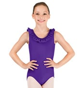 Girls Scoop Neck Ruffle Tank Leotard