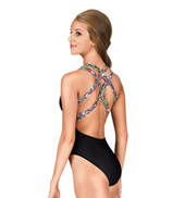 Adult Brown Floral Strappy Tank Leotard