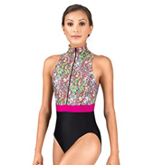 Adult Brown Floral Mock Neck Leotard