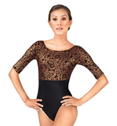 Adult Tapestry Flocked Floral 3/4 Sleeve Boatneck Leotard