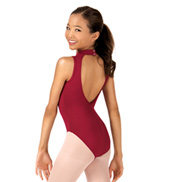 Child Deep V-Back High Neck Tank Leotard