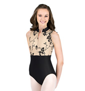 Adult Flocked Zip Front Mock Leotard