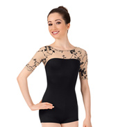 Adult Flocked 3/4 Sleeve Shorty Unitard