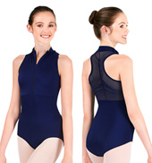Power Mesh Zip Front Tank Leotard