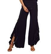 Ladies Split Ruffled Pants with Gold Accent